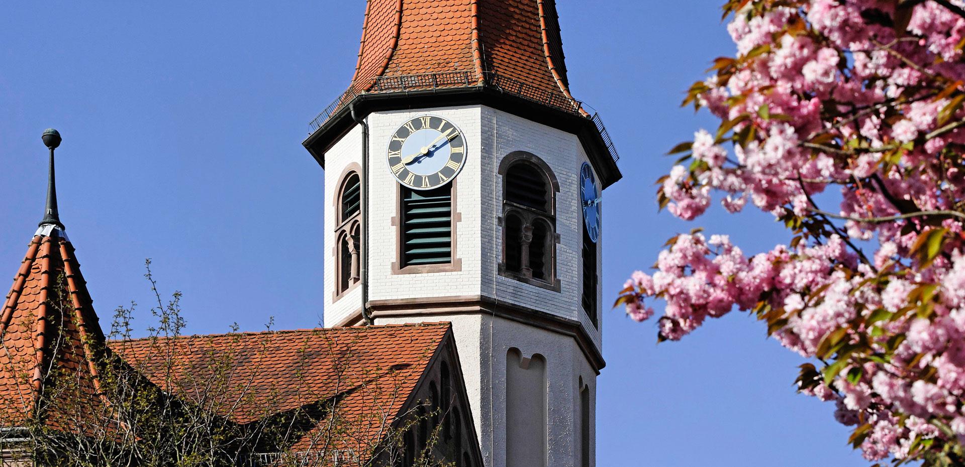 Kirchturm und rosa Apfelbaumblüten