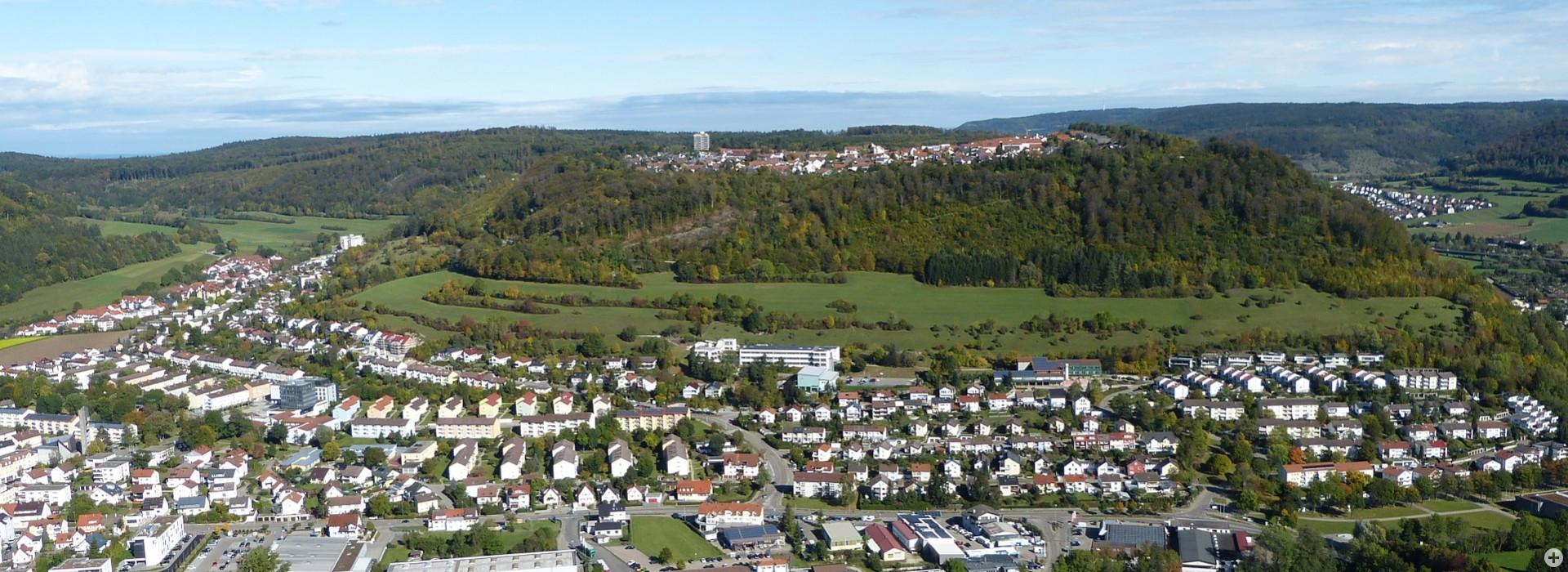 Blick auf die Stadt und das Wohngebiet Heide